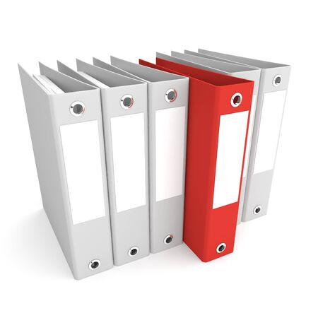 business directory: Red folder among a set of gray. 3d rendered illustration Stock Photo