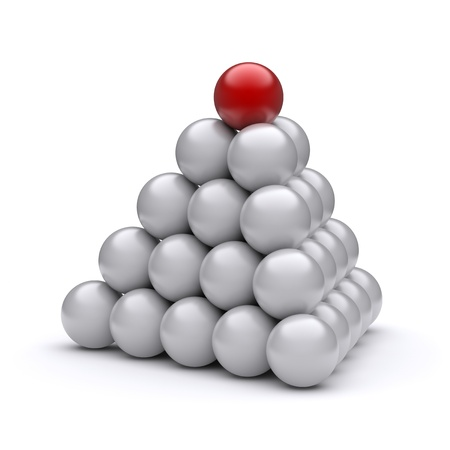 best leadership: Red ball on top of the pyramid