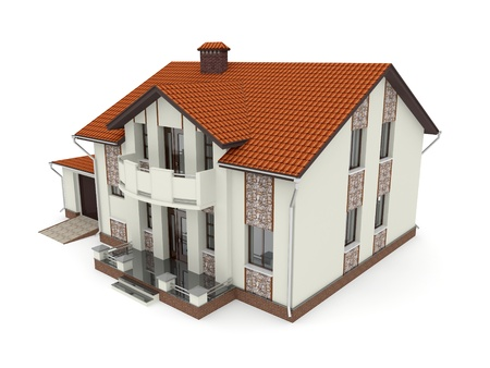 Isolated suburban house. 3d rendered image Stock Photo - 11740109