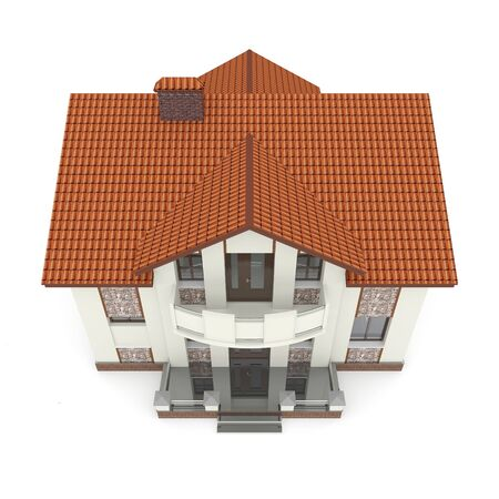 Isolated suburban house. 3d rendered image Stock Photo - 11740115
