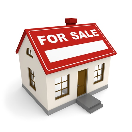 bargain for: Small house for sale on white background. 3d rendered image