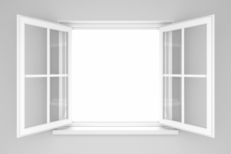 opened: An open window on a white wall. 3d illustration