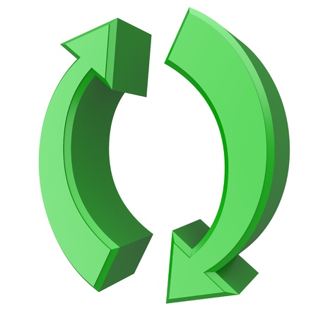 Conceptual 3d image of rotating green arrows Stock Photo - 11740074