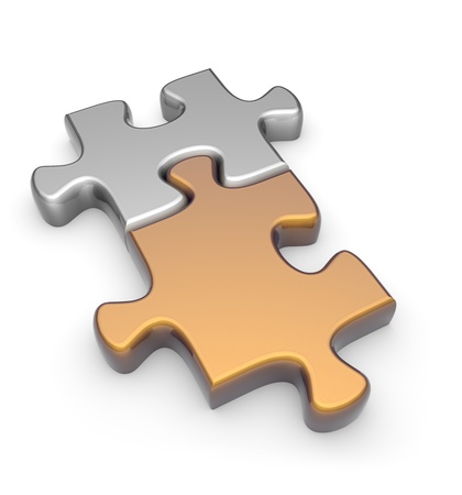 Gold and silver puzzle on a white background. 3d image