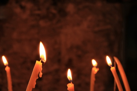 christmas religious: Burn candles in the darkness
