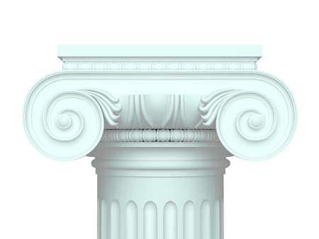 roman pillar: Isolated ionic chapiter Stock Photo