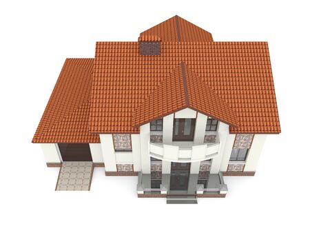 Isolated suburban house. 3d rendered image photo