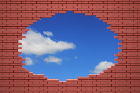 Hole in the brick wall. 3d rendered image Stock Photo - 11850208
