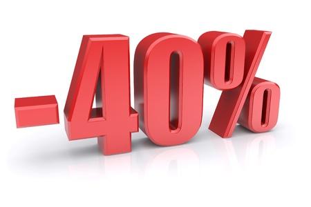 40% discount icon on a white background Stock Photo