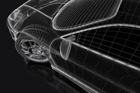 3d model: Sport car model on a black background. 3d rendered image