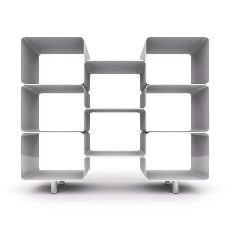 furniture store: Empty shelves for your content.  3d illustration