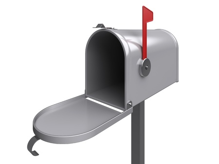 metal post: Open mailbox. Isolated. 3d image