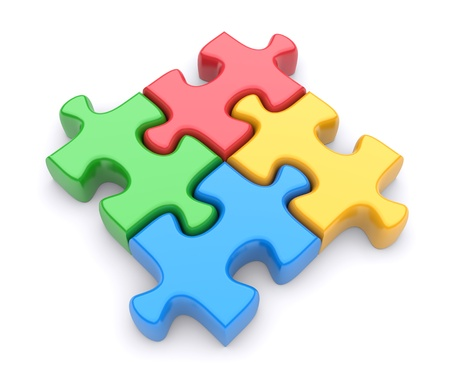 jigsaws: Jigsaw puzzle su uno sfondo bianco. 3d immagine