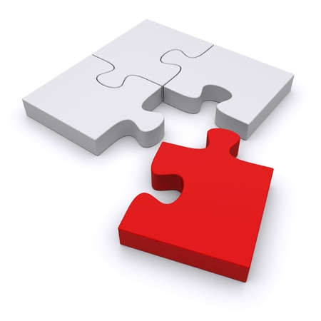red puzzle piece: Jigsaw puzzle on a white background. 3d image Stock Photo