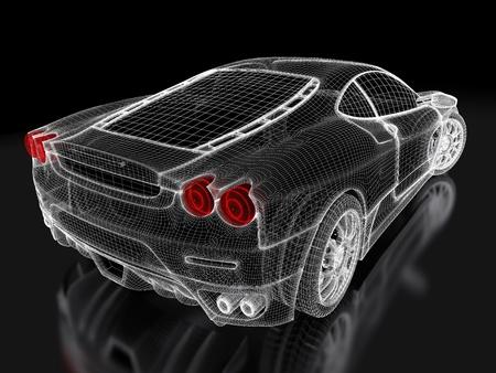 car concept: Sport car model on a black background. 3d rendered image