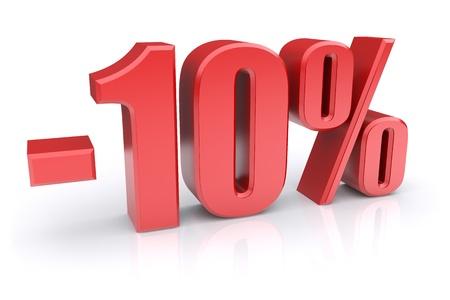 割引: 白い背景の上のアイコンを 10% 割引します。 写真素材