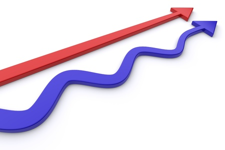 Conceptual image of red and blue arrows. Stock Photo - 11850378