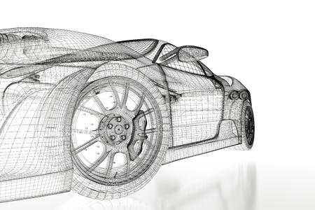 dibujo tecnico: Sport modelo de coche sobre un fondo blanco. Imagen 3d rindió