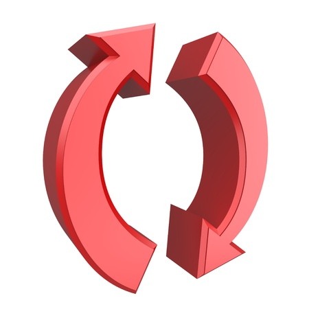 Conceptual 3d image of rotating red arrows Stock Photo - 11850418