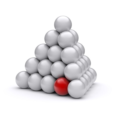 leadership abstract: Conceptual image of a pyramid with a red ball. 3d image