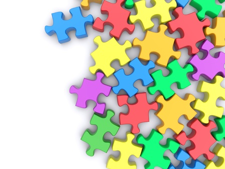 puzzle: Jigsaw puzzle on a white background. 3d rendered image