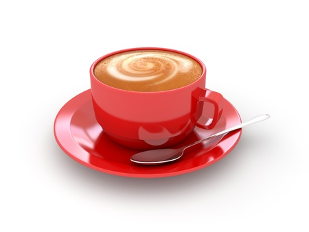 cappuccino: Red cup of coffee. 3d rendered image