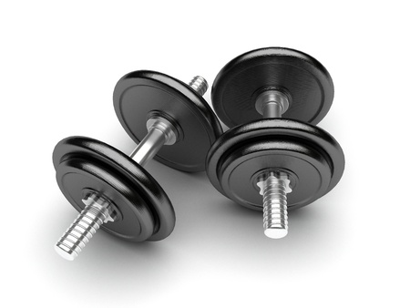 weight weightlifting: Dumbbells on a white background