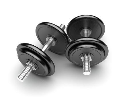 pesas: Pesas de gimnasia en un fondo blanco