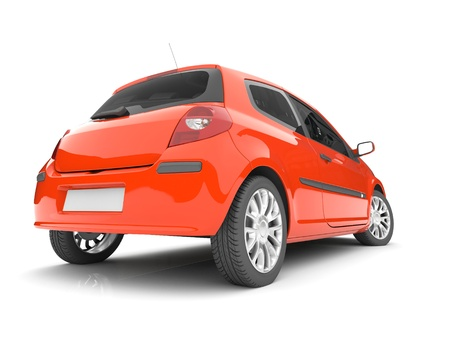 angle views: 3d red car on a white background