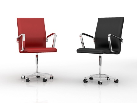 red chair: Two office chairs. 3d image