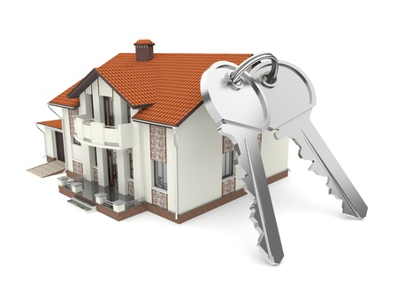 Isolated  house and  keys. 3d rendered illustration  Stock Illustration - 11850969