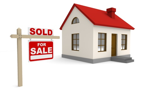 sold sign: Real estate. 3d image