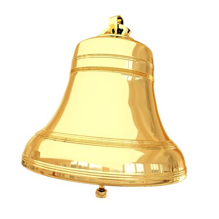 church bells: Isolated 3d shiny golden bell