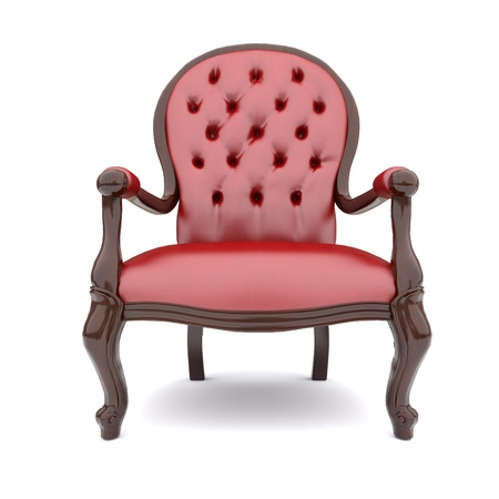 red chair: 3d isolated red armchair in the classical style