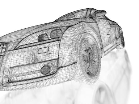 3d model auto op een witte achtergrond Stockfoto