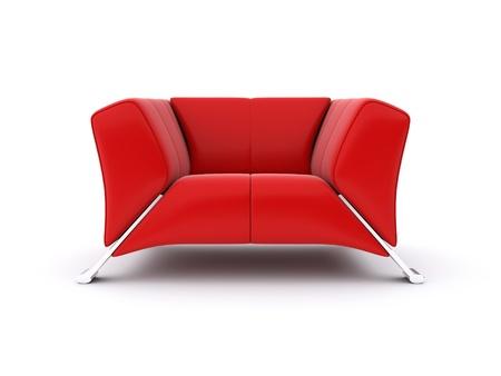 Silla roja. Imagen 3d rindió