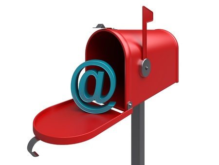 inbox: e-mail. Red internet mailbox, isolated. 3d rendered image