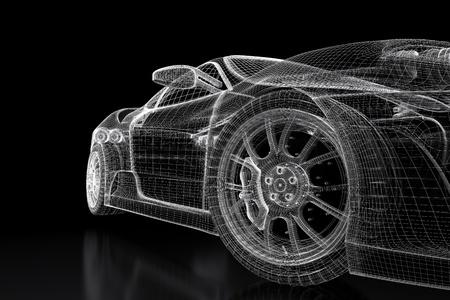 Modello di auto sportiva su sfondo nero. 3d immagine renderizzata