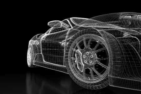 Sport car model on a black background. 3d rendered image