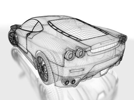 silhouette voiture: Modèle de voiture sport sur un fond blanc. 3d image rendue