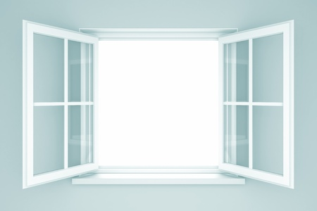 apriva: Una finestra aperta su un muro blu. Illustrazione 3D Archivio Fotografico