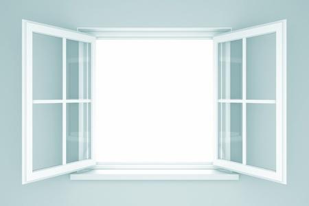 ventanas abiertas: Una ventana abierta en una pared azul. 3d ilustración Foto de archivo