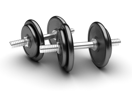 2 objects: Two dumbbells on a white background. 3d rendered image
