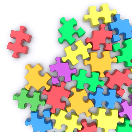 puzzle corners: Jigsaw puzzle on a white background. 3d rendered image