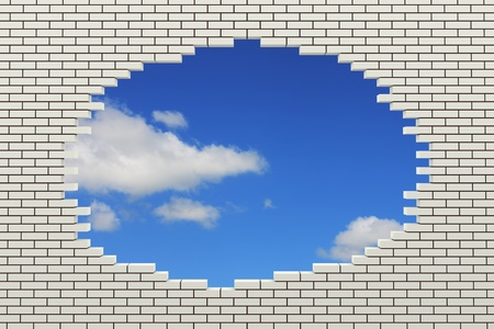 wall clouds: Hole in the brick wall. 3d rendered image