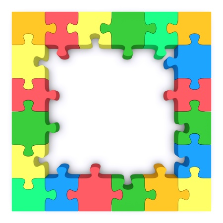 Beautiful frame made up of pieces of colored jigsaw puzzle. 3d rendered image Stock Photo - 11960366