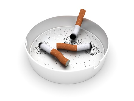 ashtray: Ashtray with cigarette butts. 3d rendered image