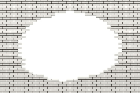 demolition: Hole in the brick wall. 3d rendered image