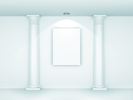 Blank picture in a museum. 3d rendered image photo