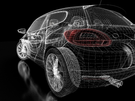 artificial model: 3d car model on  a black background. Stock Photo